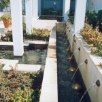 Entrance fountain with sandstone finish